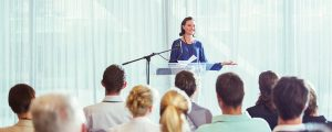 Young Businesswoman at Presentation Conference